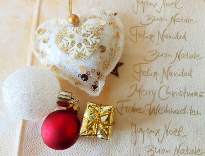 Christmas Holiday Bauble Celebration Christmas Christmas Decoration Christmas Decorations Christmas Ornament Close-up Gifts Heart Indoors  No People Ornaments Still Life Table Tradition