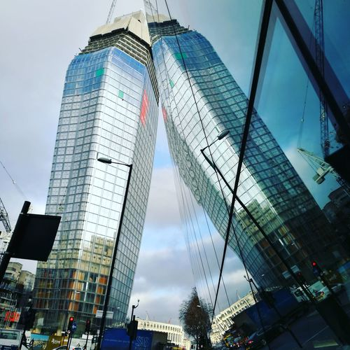 City Reflections Sky Low Angle View Skyscraper Cloud - Sky Modern Business Finance And Industry No People City Outdoors Day EyeEmNewHere