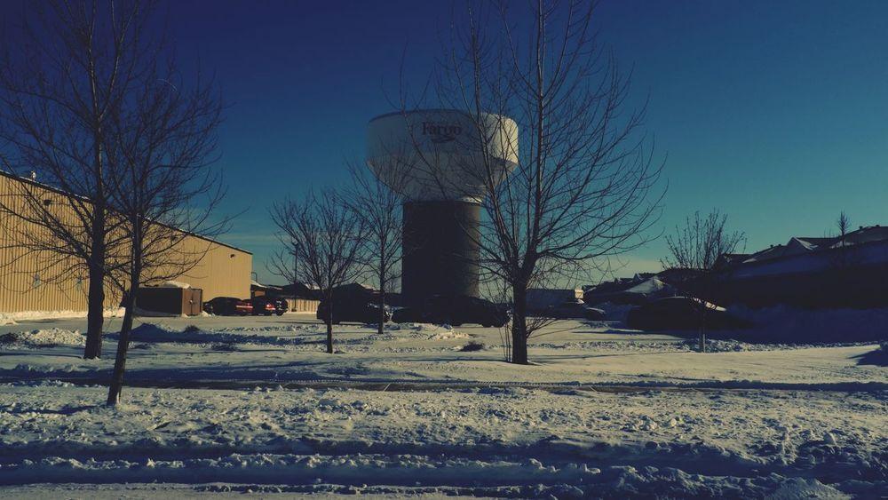 January 17, 2016 QVHoughPhoto FujiFilmX100 Fargo Northdakota Cityscapes Trees Winter Snow Watertower