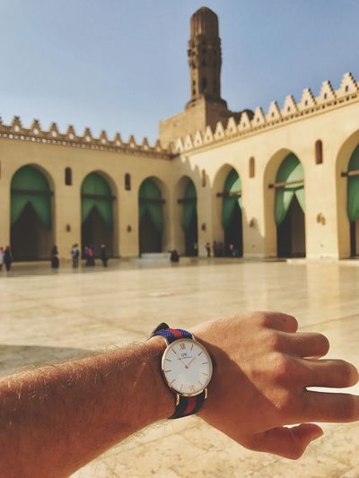 Human Hand Human Body Part Time One Person Human Finger Real People Wristwatch Clock Holding Men Outdoors Architecture Lifestyles Day Clock Face Palm Minute Hand One Man Only Sky Close-up Danielwellington Egypt