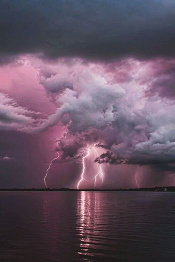 Power In Nature Thunderstorm Lightning Extreme Weather No People Just Sky And Sea Storm Storm Cloud Dramatic Sky Danger Scenics Cloud - Sky Nature Sky Outdoors Waking Up Archery Day