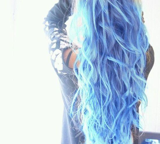 Blue Hair Girl Beautiful ♥ Omg *_*