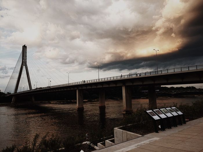 Bridge - Man Made Structure Connection Engineering Architecture Cloud - Sky Built Structure Sky River Weather Transportation Bridge Water No People Outdoors Day Nature Warsaw Poland The Week On EyeEm