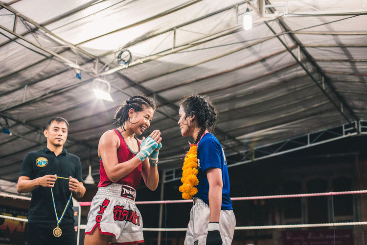 Respect for the opponent. International Women's Day 2019 Women Lifestyles Real People Young Women Females Togetherness Emotion Sport Friendship Happiness Muay Thai Sports Sportswoman Respect Love Victory