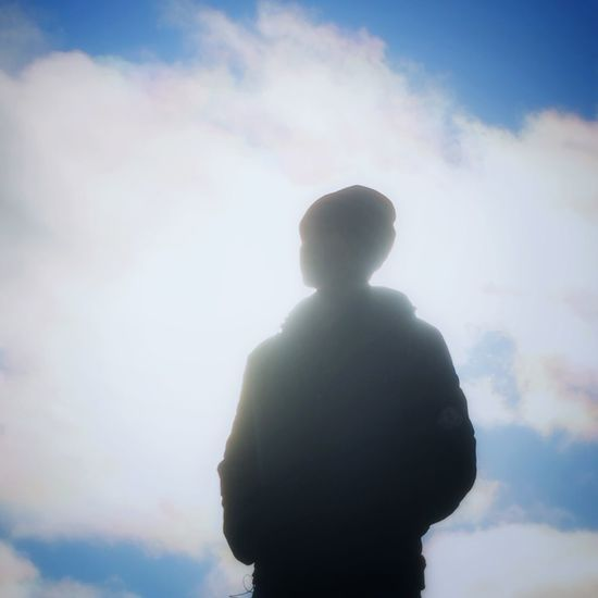 Cloud Waist Up Standing Sky Cloud - Sky Solitude Blue Loneliness Day Multi Colored Ethereal Vibrant Color Solarflare Boy Animeboy Silhouette Person Relaxing Anime