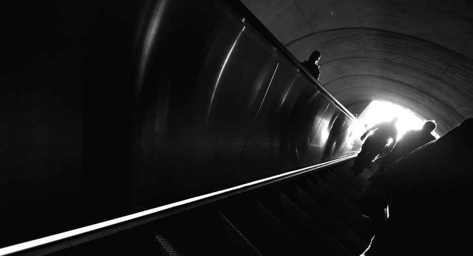 Johnleephotography Washington, D. C. Wmata Escalator Wide Angle Silhouettes CanonT5i Angle Angle Up Illuminated Silhouette Tunnel Travel City Life Light At The End Of Tunnel Insomnia No Sleep Sleep Deprived Insomniac_collection Low Angle View