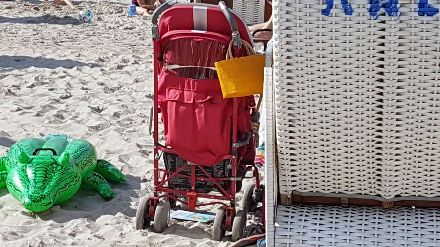 Beachlife Beach Photography Beach Chairs No People Beach Day High Angle View baby buggy Sand Outdoors Plastik Crokodile For Swimming