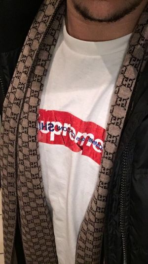 Cdg GUCCI Supreme Text Flag Red
