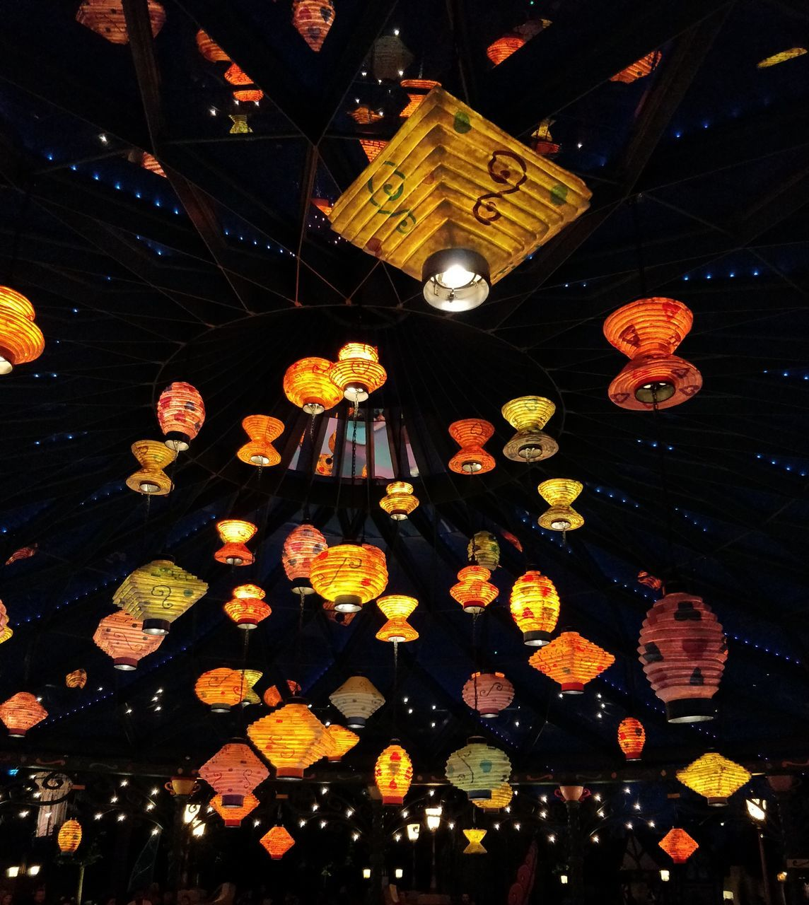 illuminated, night, lighting equipment, celebration, hanging, decoration, lantern, no people, glowing, low angle view, flower, indoors, chinese lantern, orange color, built structure, architecture, dark, ceiling