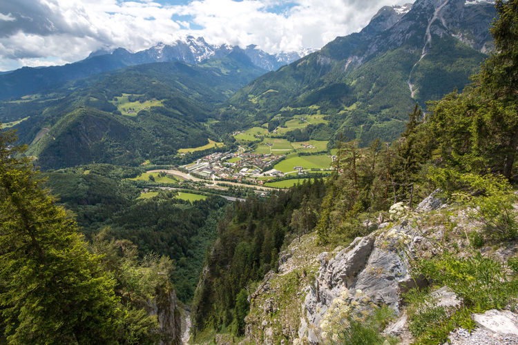 View of Tenneck town from the hiking trail to Eisriessenwelt Ice Caves in Austria Austria Eisriesenwelt View Green Color Landscape Mountain Mountain Peak Mountain Range Non-urban Scene Outdoors Scenics - Nature Tenneck Town