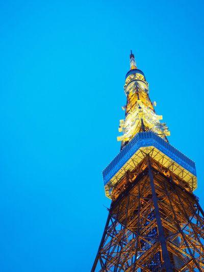 Tokyo Tower Tokyo Tokyo,Japan Japan Blue Sky Light And Dark Lightup Tower