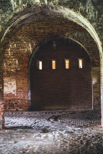 Old brick archway Archway Arches Historic Old Illuminated Architecture Abandoned Brick