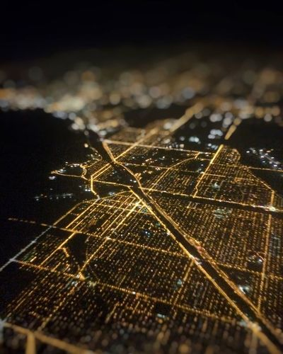 Chicago from 10,000 feet Chicago Aerial Night Light Cityscapes Citynights