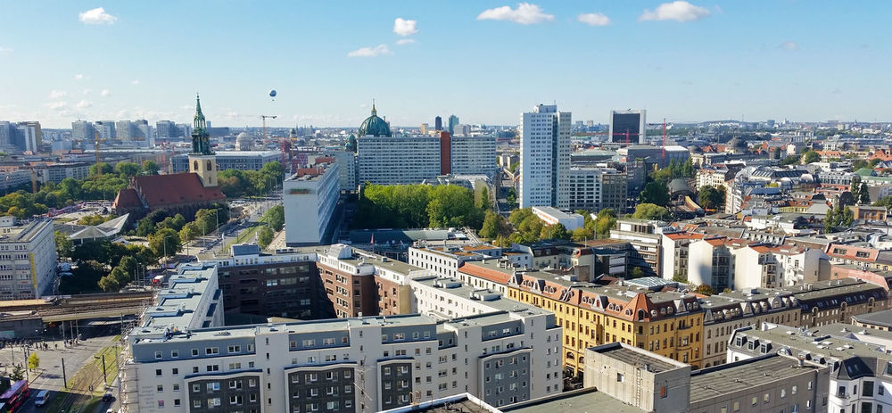 skyline berlin Aerial View Architecture Berlin Blue Sky Built Structure Capital Capital Cities  City City Life Cityscape Day Germany High Flyer Nikolaikirche Outdoors Travel Destinations Urban Skyline