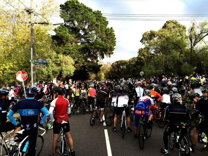 "Biking to support ""stop the Boulie tacks"". Biking Yarra Boulevard Cycling Cyclist Lycra Mamil"