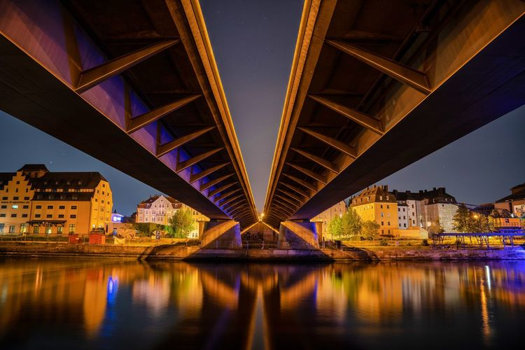 Nibelungen Bridge, Regensburg, Germany Architecture Built Structure Water Bridge Bridge - Man Made Structure Illuminated River City Transportation Engineering Reflection Connection Building Exterior Night Underneath Waterfront Travel Destinations Nature Girder Ceiling