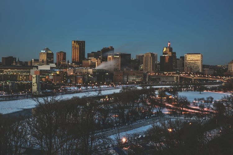 St. Paul, Minnesota skyline at sunset in winter City Cityscape Illuminated Urban Skyline Night Transportation Building Exterior Architecture Business Finance And Industry No People Skyscraper Long Exposure Outdoors Winter Bridge - Man Made Structure Sky Downtown District Minnesota Bradley Olson Bradleywarren Photography Backgrounds Background Blue Cityscape Copy Space