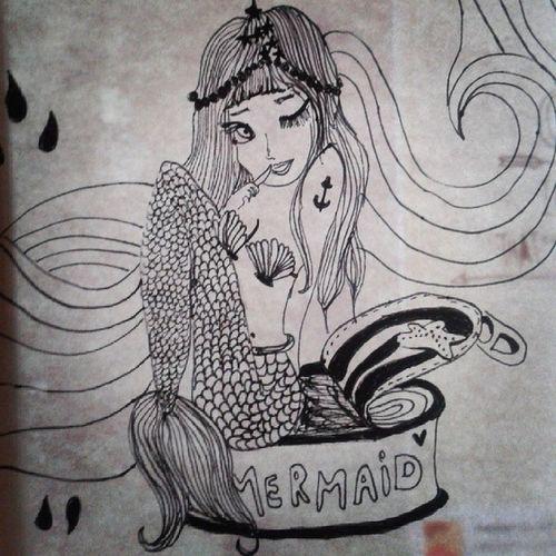 Bored. So I drew Mermain Illustration Drawing Ocean