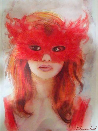 Aquarelle d'après la photo d'une amie. Watercolors. Drawing Dessin Mask Watercolor