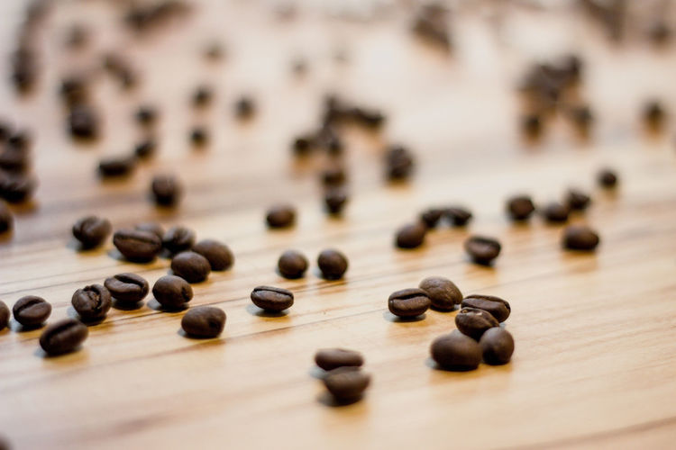 Large Group Of Objects Food And Drink Selective Focus Wood - Material Close-up Food Brown No People Still Life Indoors  Table Abundance Roasted Coffee Bean High Angle View Coffee - Drink Freshness Coffee Copy Space Seed Black Color