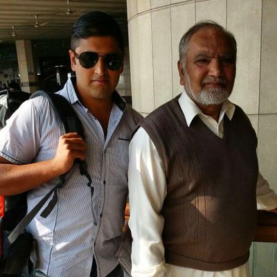 With my father at airport