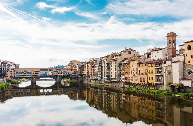 Reflection Travel Destinations City Travel Architecture Cityscape Outdoors Urban Skyline Landscape River Tranquility Building Exterior Sky Florence Italy Florence Bridge