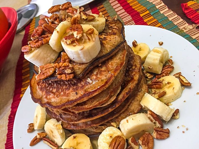 Cold mornings call for a warm stack of gluten free, vegan banana, pecan, flaxseed, maple pancakes. My World Of Food Beautiful Day Fall Days Cooking At Home Foodphotography The Foodie - 2015 EyeEm Awards Make Magic Happen Brunch Around The World Food Porn Awards My Favorite Breakfast Moment