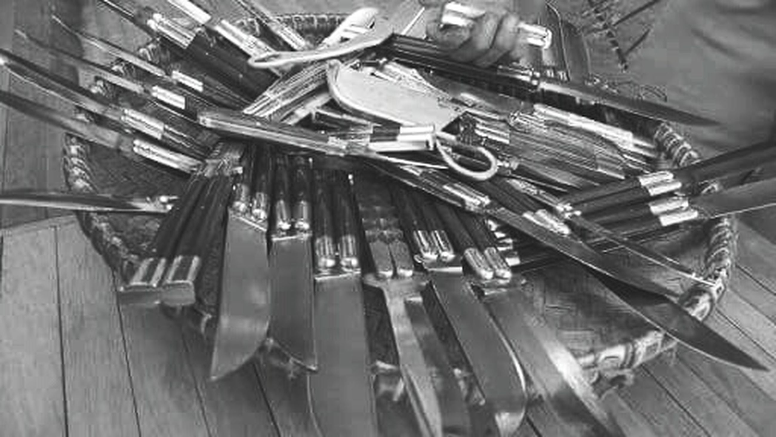 indoors, wood - material, large group of objects, still life, high angle view, chair, table, metal, abundance, in a row, close-up, arrangement, no people, absence, equipment, hanging, industry, group of objects, old, wooden