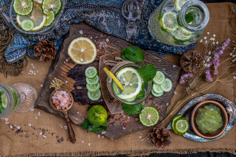 High angle view of lemon drink on table