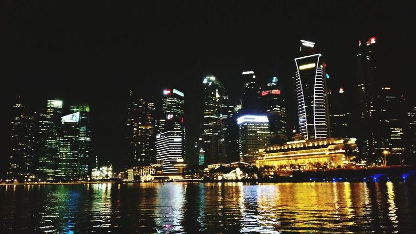 Taking Photos Night City Skyline