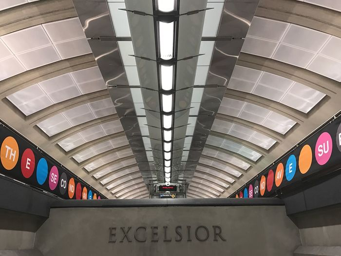 EyeEmNewHere Ceiling Architecture Indoors  Built Structure Low Angle View No People Day Subway Station Leading Lines Iphoneonly Urban Geometry Adapted To The City