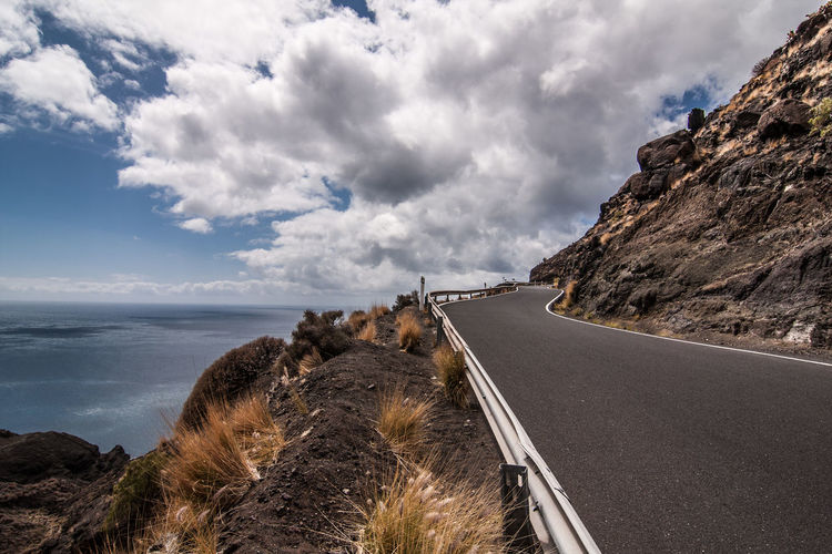Fuerteventura Beauty In Nature Cloud - Sky Day Grass Horizon Over Water Kanarische Inseln Mountain Nature No People Outdoors Road Rock - Object Scenics Sea Sky The Way Forward Tranquil Scene Tranquility Water