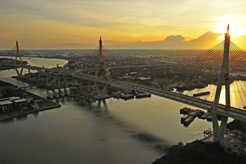 High angle view of bridge over river during sunset