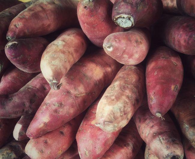 Full frame shot of sweet potatoes at market stall