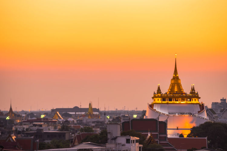 golden Cityscape City Urban Skyline Sunset Beauty Gold Dawn Place Of Worship Arrival Ancient Praying Faith Monk - Religious Occupation Religious Offering Pagoda Tower