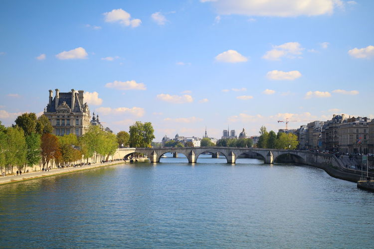 Paris ❤ Arch Arch Bridge Architecture Bridge Bridge - Man Made Structure Building Exterior Built Structure Chain Bridge City Cityscape Cloud - Sky Connection Day Nature No People Outdoors River Sky Travel Destinations Tree Water Waterfront