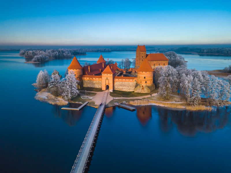 Trakai castle at winter, aerial view of the castle Castle Frost Frozen Ice Lithuania Nature Reflection Winter Architecture Beauty In Nature Blue Bridge Building Exterior Built Structure Clear Sky Day Horizon Over Water Island Nature No People Outdoors Scenics Sky Tranquility Water
