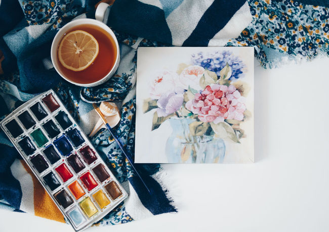 Spring Still Life At Work Colors Comfort Food Art Arts Culture And Entertainment Close-up Comfort Day Daylight Directly Above Draw A Picture Drink Flower High Angle View Illustration Indoors  Lemon No People Still Life Table