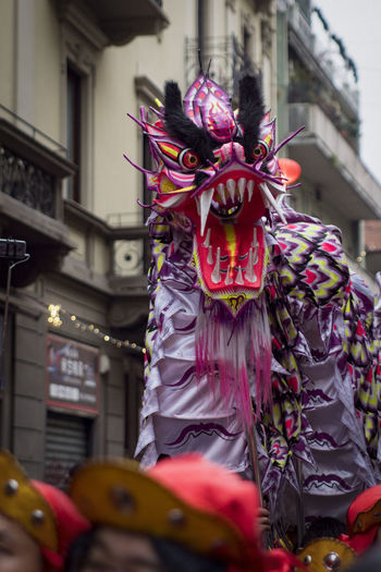 Chinatown Milan Chinese New Year 2018 Celebration Costume Cultures Day Large Group Of People Lifestyles Men Multi Colored Outdoors People Performance Performing Arts Event Real People Stage Costume Street Tradition Traditional Dancing Traditional Festival