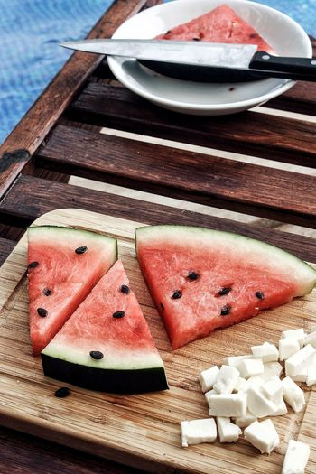 Watermellon and cheese Cheese Watermellon  Summer Summertime Poolside Triangle Shape Food Foodpic Foodphotography Fruit Close-up Food And Drink Sweet Food Served Wooden Plate Prepared Food Ready-to-eat