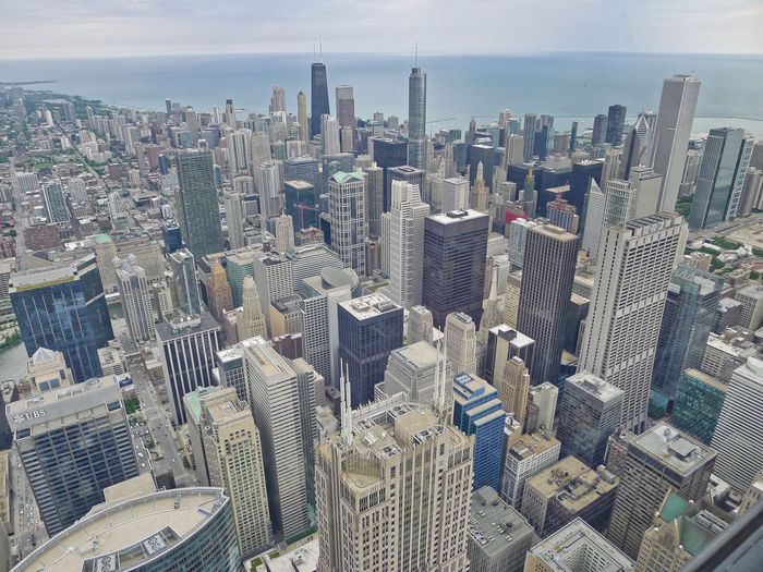 Great view from Willis Tower (formaly known as Sears Tower) in Chicago, Illinois. Willis Tower Aerial View Architecture Building Exterior City Cityscape Day Downtown Downtown District Growth Modern No People Outdoors Sky Skyline Skyscraper Tall Travel Destinations Urban Skyline
