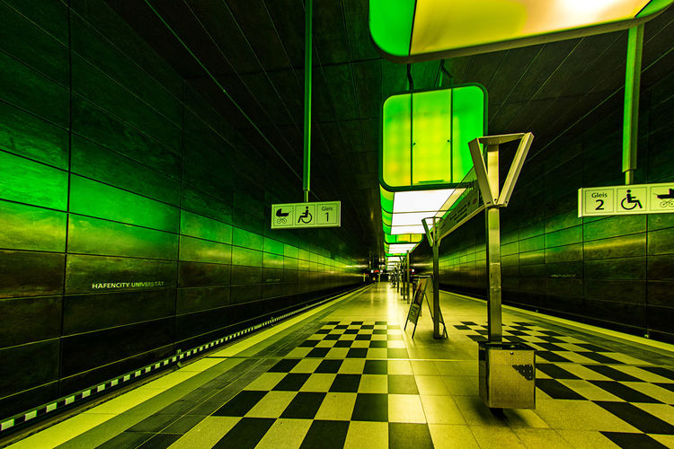 Public Transportation Transportation Railroad Station Rail Transportation Railroad Station Platform Illuminated Architecture Mode Of Transportation Indoors  Built Structure Subway Flooring Communication Tiled Floor Station Modern Tile Travel Incidental People Green, Hamburg Hafencity