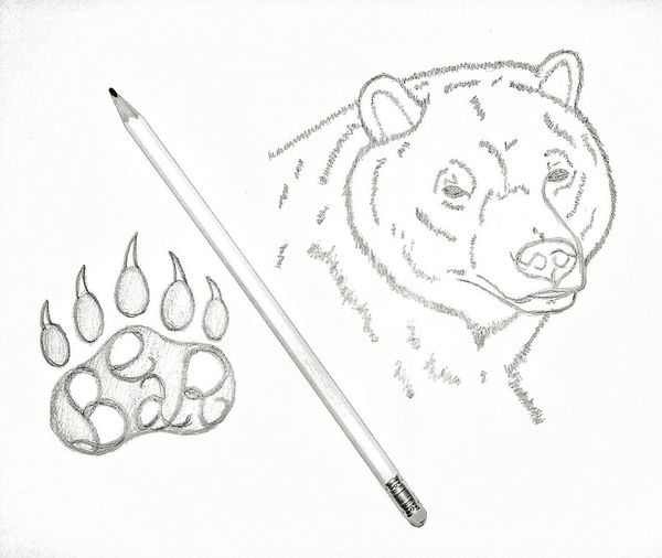 Bnw Bear Paw Print White White Background Page Paper Art Ink Science Doodle Sketch Scribble Sketch Pad Drawing - Activity Eraser Pencil Drawing Drawn Drawing - Art Product