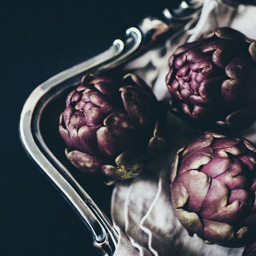artichokes Artichoke Artichokes Black Background Close-up Day Food Food And Drink Healthy Healthy Eating No People Organic Organic Food Purple Raw Vegetable