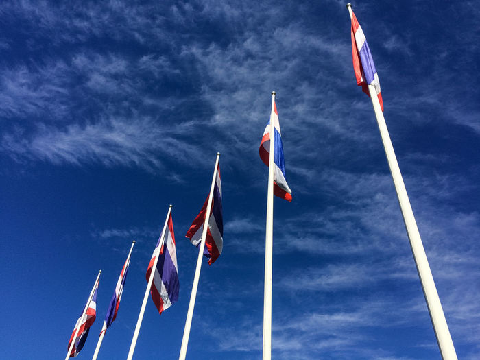 Thailand flag with sky background Abstract ASIA Blue Cloud Cloud - Sky Country Day Flag Lanscape Low Angle View No People Outdoors Patriotism Pollen Red Six Sky Thai Thailand Togetherness White