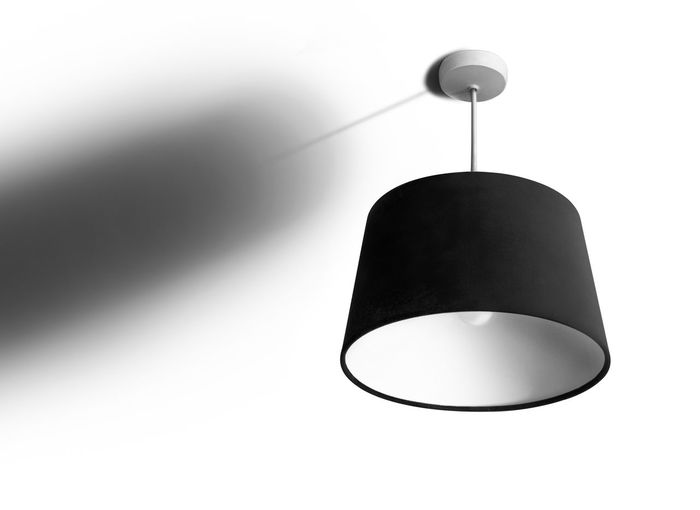 Low angle view of pendant light hanging from ceiling