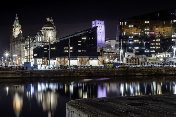 Albert Docks Architecture Building Exterior Built Structure City Cityscape Illuminated Liver Building Liverpool Night No People Outdoors Reflection Sky Travel Destinations