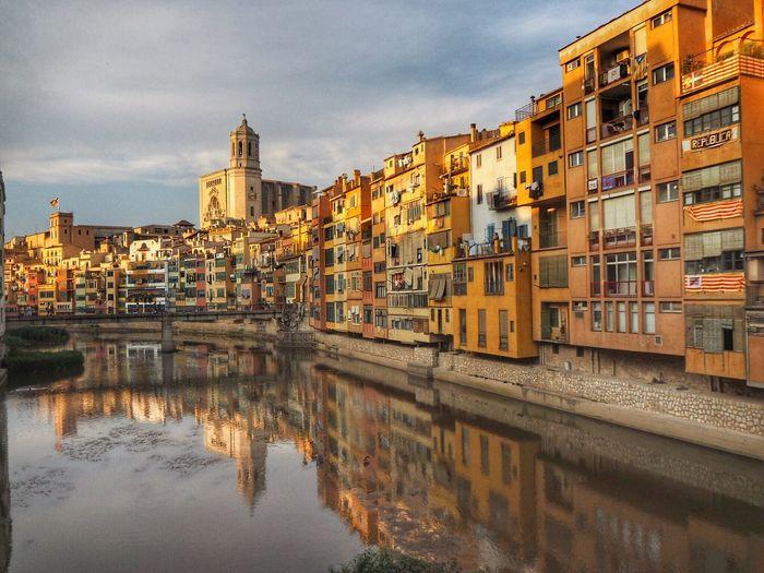 Girona Building Exterior Architecture Built Structure Water Building City Sky Reflection Cloud - Sky Waterfront River Tourism Travel Destinations
