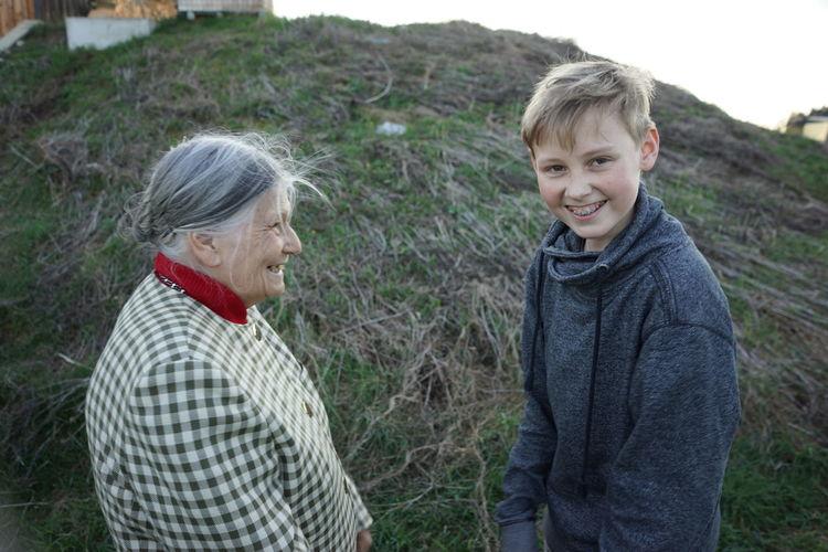 Grandma and grandchild smiling