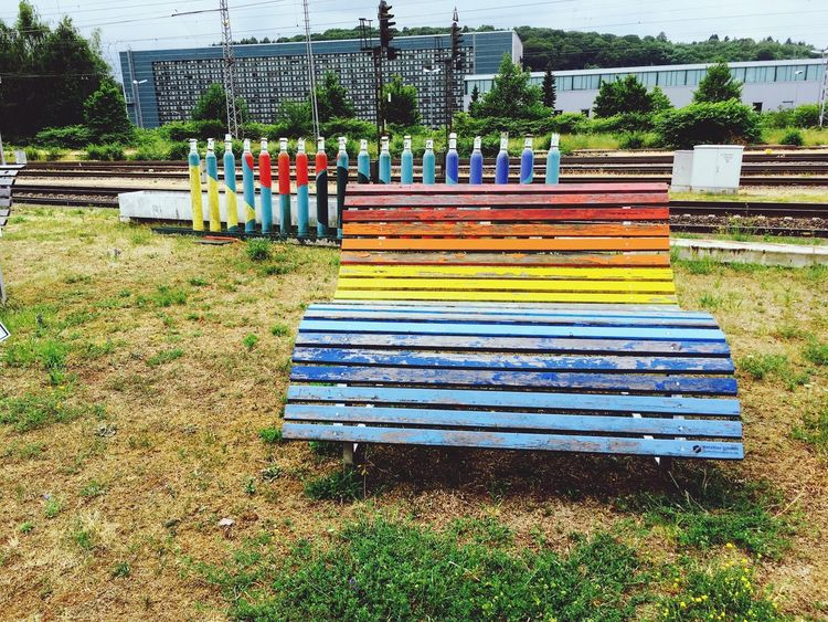 Striped Grass Day Outdoors No People Tree Architecture Bench Merzig